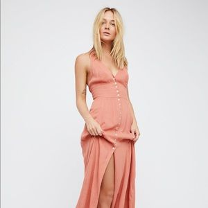 Free People Peach Crepe maxi dress